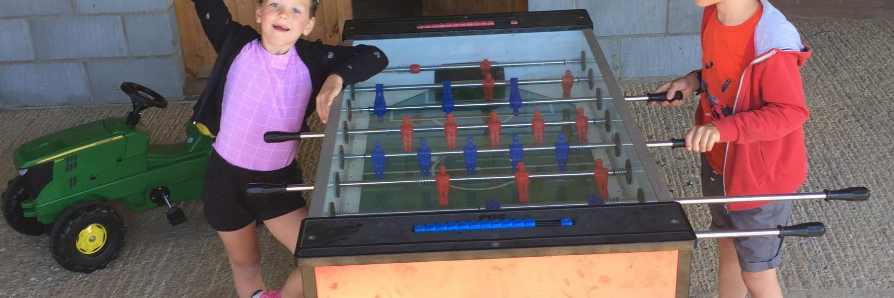 Table football for perfect family farm holidays at Wood Farm
