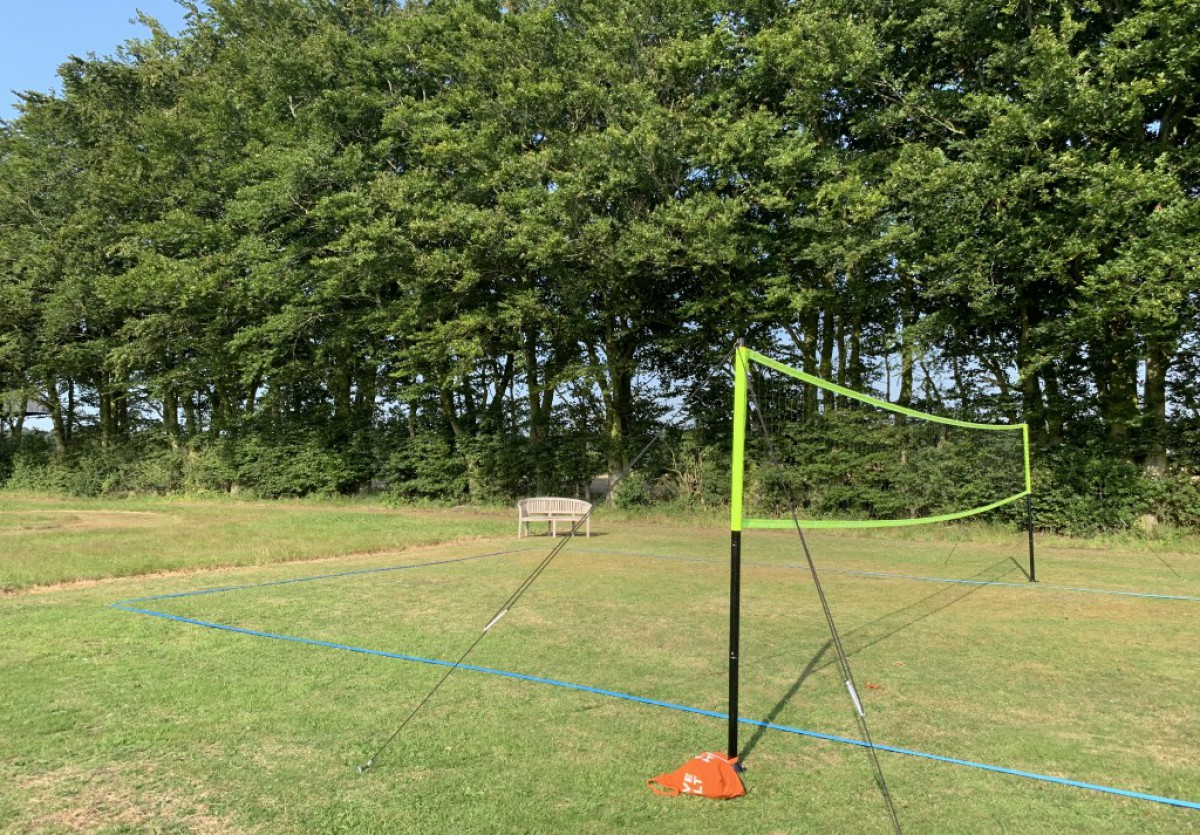 Volleyball net for families staying at Wood Farm