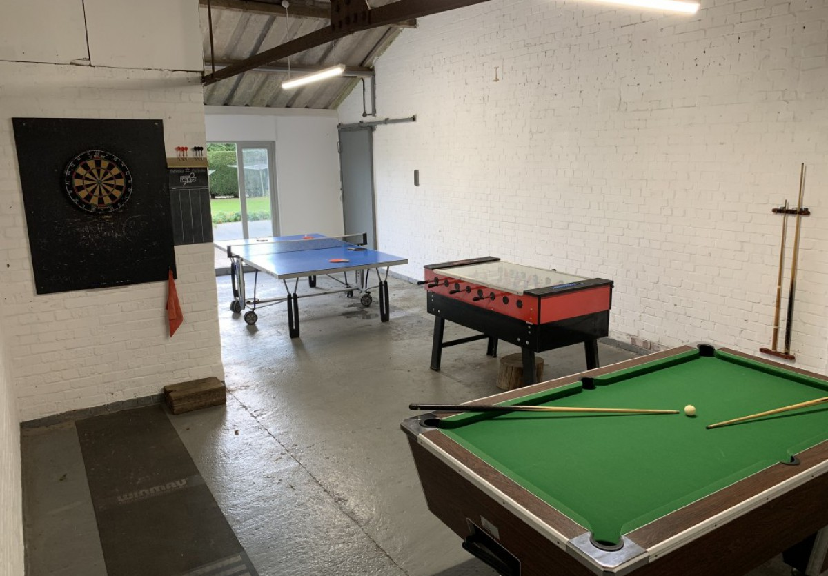 Indoor games room, great for family holidays at Wood Farm
